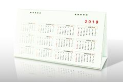 Calendar of 2019. On white background royalty free stock photo