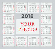 Calendar for 2018 Stock Images