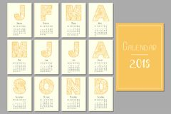 Calendar for 2018. For the whole year with patterned letters Royalty Free Stock Photo