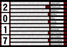 Calendar 2017, calendarium в горизонтальных прокладках, голубая абстрактная предпосылка Стоковые Фотографии RF