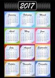 Calendar 2017, calendarium em blocos de memória, fundo colorido Fotografia de Stock