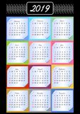 Calendar 2019, calendarium em blocos de memória, fundo colorido, testes padrões do vintage no esboço branco, papel com canto rola Imagem de Stock