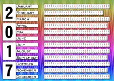 Calendar 2017, calendarium em tiras horizontais, fundo ondulado colorido ilustração do vetor