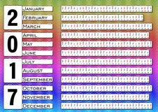 Calendar 2017, calendarium in horizontal strips, multicolored wavy background Stock Photography