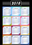 Calendar 2018, calendarium on memory blocks, multicolored background, vintage patterns in white outline, paper with rolled corner Royalty Free Stock Photos