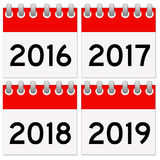 Calendar. S for the years 2016 up to 2019 Royalty Free Illustration