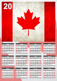 2017 Calendar - Canadian Country Flag Banner - Happy new Year. Calendar for 2017 with the Canadian flag on English language.Week starts with Sunday Stock Photos