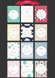 2017 Calendar- Cards. 2017 calendar start on monday, each month with individual table. Patterned colorful background Stock Images