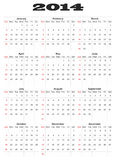 Calendar for 2014 Stock Photography