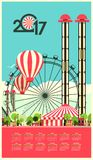 Calendar 2017 Carnival. Vector illustration Calendar 2017 with an illustration of an amusement park carnival Royalty Free Stock Image