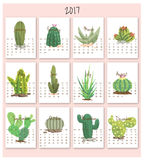 2017- Calendar Cartoon Cactus Background Stock Photos
