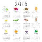 Calendar 2015 Cartoon Cute Object Vector Stock Image