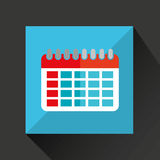 Calendar cartoon date day shadow and blue background Stock Photo