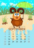Calendar for 2019 with cartoon funny animals, hand drawing, vector illustration. Colorful, bright design of a wall-mounted rocker. Calendar with painted cute stock illustration