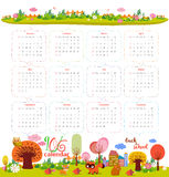 Calendar for 2016 with cartoon and funny animals. Hello autumn Stock Photo