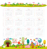 Calendar for 2016 with cartoon and funny animals. Hello autumn.  Royalty Free Illustration
