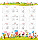 Calendar for 2016 with cartoon and funny animals and kids. Hello autumn.  Stock Illustration
