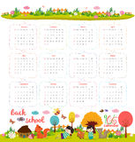 Calendar for 2016 with cartoon and funny animals and kids. Hello autumn.  Royalty Free Illustration