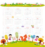Calendar for 2016 with cartoon and funny animals and kids. Hello autumn.  Royalty Free Stock Photo