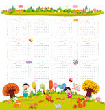 Calendar for 2016 with cartoon and funny animals and kids. Hello autumn.  Stock Images
