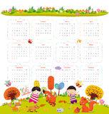 Calendar for 2016 with cartoon and funny animals and kids. Hello autumn.  Vector Illustration