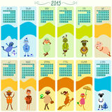 Calendar for 2015 with cartoon and funny sheep. Hand-drowing vector illustration Stock Photo