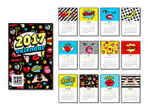 Calendar 2017 in cartoon 80s-90s comic style. Calendar 2017 in cartoon 80s-90s comic style with fashion patches, pins and stickers. Pop art vector illustration royalty free illustration