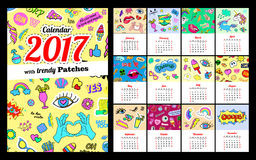 Calendar 2017 In cartoon 80s-90s comic style fashion patches, pins and stickers. Pop art vector illustration. Every 12 months. Trendy colors Eps 10 vector illustration