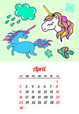Calendar 2017 In cartoon 80s-90s comic style fashion patches, pins and stickers. Pop art vector illustration. Trendy colors. Eps 10 royalty free illustration