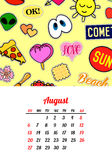 Calendar 2017 In cartoon 80s-90s comic style fashion patches, pins and stickers. Pop art vector illustration. Trendy colors. Eps 10 vector illustration