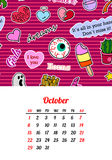 Calendar 2017 In cartoon 80s-90s comic style fashion patches, pins and stickers. Pop art vector illustration. Trendy colors. Eps 10 stock illustration