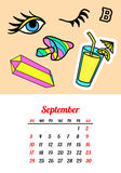 Calendar 2017 In cartoon 80s-90s comic style fashion patches, pins and stickers. Pop art vector illustration. Trendy. Colors. Eps 10 royalty free illustration