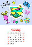 Calendar 2017 In cartoon 80s-90s comic style fashion patches, pins and stickers. Pop art vector illustration. Trendy. Colors. Eps 10 Stock Image