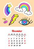 Calendar 2017 In cartoon 80s-90s comic style fashion patches, pins and stickers. Pop art vector illustration. Trendy Stock Image