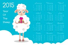 2015 Calendar With Cartoon Sheep. 2015 Year Of The Sheep.  Calendar With Cartoon Sheep. Vector illustration Stock Image