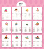 2017- Calendar Cartoon Sweets. 2017 calendar start on monday, each month with individual table. Delicious cartoon sweets Royalty Free Stock Images