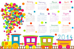 2014 calendar with cartoon train. 2014 calendar fot kids with cartoon train Stock Image