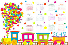 2017 calendar with cartoon train for kids Stock Images
