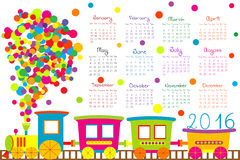 2016 calendar with cartoon train for kids. On white background Royalty Free Stock Photography