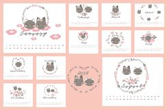 2018 calendar with cat and Floral. 2018 Calendar with flower and cat design element Stock Photo