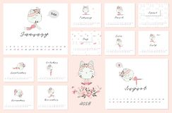 2018 Calendar with cat and yoga post. 2018 Calendar with cat and yoga post design element Stock Photos