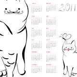 Calendar with cats for 2011. Universal template for greeting card, web page, background Royalty Free Stock Photo