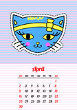 Calendar 2017 with cats. April. In cartoon 80s-90s comic style fashion patches, pins and stickers. Pop art vector. Calendar 2017 with cats. In cartoon 80s-90s Stock Photos