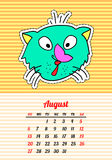 Calendar 2017 with cats. August. In cartoon 80s-90s comic style fashion patches, pins and stickers. Pop art vector. Calendar 2017 with cats. In cartoon 80s-90s stock illustration