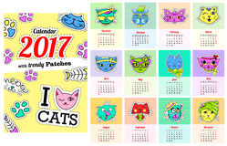 Calendar 2017 with cats. In cartoon 80s-90s comic style fashion patches. Pins and stickers. Pop art vector illustration. Every 12 months.Trendy colorsVector royalty free illustration