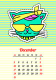 Calendar 2017 with cats. December. In cartoon 80s-90s comic style fashion patches, pins and stickers. Pop art vector. Calendar 2017 with cats. In cartoon 80s-90s stock illustration