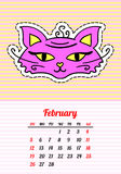 Calendar 2017 with cats. February. In cartoon 80s-90s comic style fashion. Calendar 2017 with cats. In cartoon 80s-90s comic style with fashion patches, pins and Stock Photo