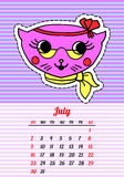 Calendar 2017 with cats. July. In cartoon 80s-90s comic style fashion patches, pins and stickers. Pop art vector. Calendar 2017 with cats. In cartoon 80s-90s stock illustration