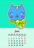 Calendar 2017 with cats. June. In cartoon 80s-90s comic style fashion patches, pins and stickers. Pop art vector. Calendar 2017 with cats. In cartoon 80s-90s royalty free illustration