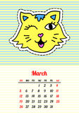 Calendar 2017 with cats. March. In cartoon 80s-90s comic style fashion patches, pins and stickers. Pop art vector. Calendar 2017 with cats. In cartoon 80s-90s vector illustration